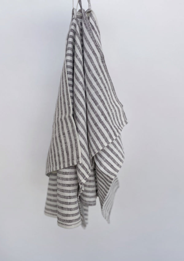Brittany Hand Towels (Set of 2) Graphite Stripe - house of lolo