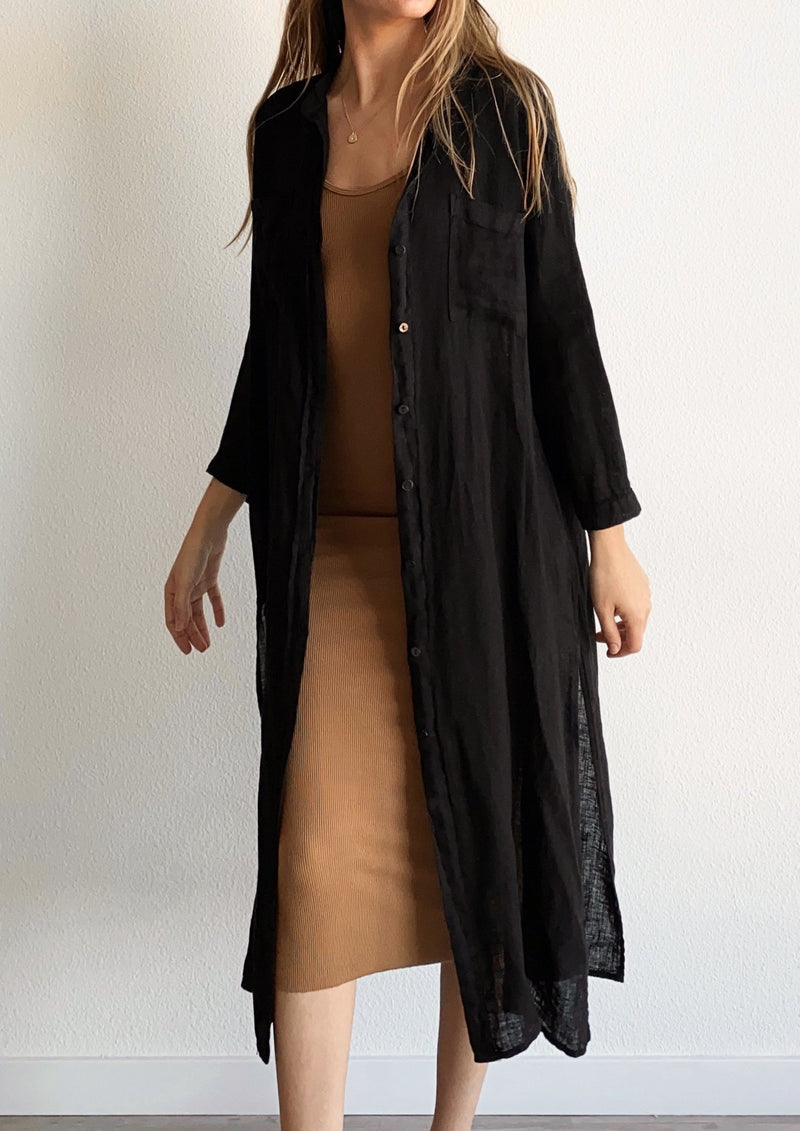 Linen Gauze Shirt Dress - Black - Available in various colors - house of lolo