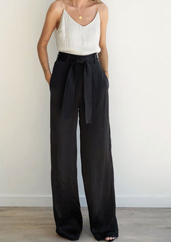 Laura Solid Pants - Black - house of lolo