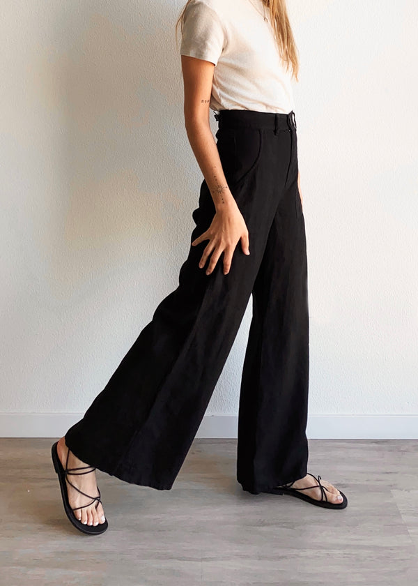 Hi-Waist Wide Leg Linen Pant - Black - house of lolo