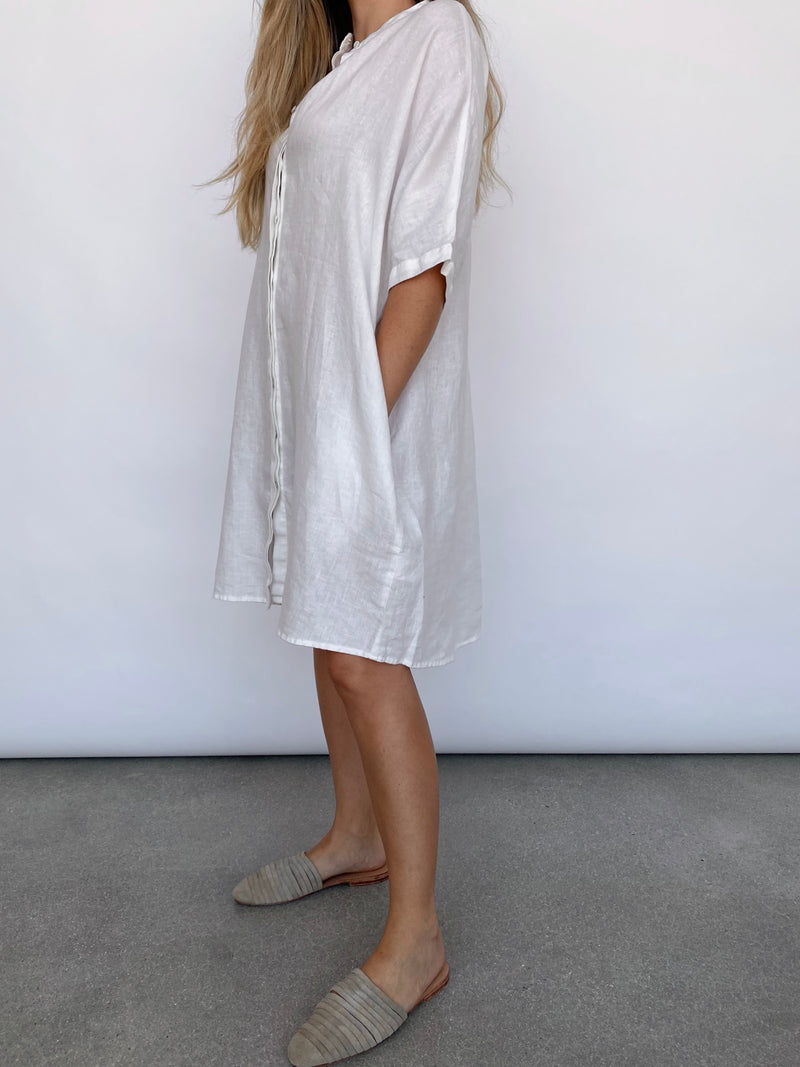 Shirt Dress - White - house of lolo