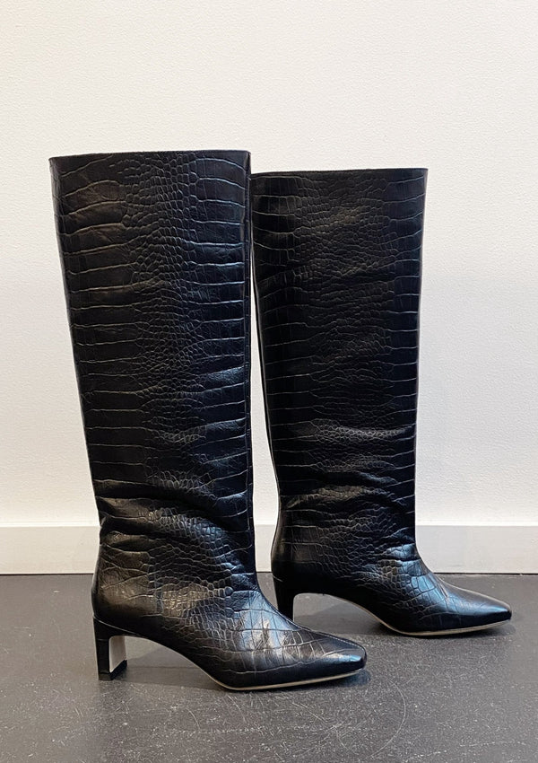 Felicia Boots - Black Croc - house of lolo