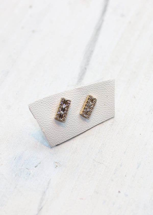 Baguette and Pave Diamond Studs - house of lolo