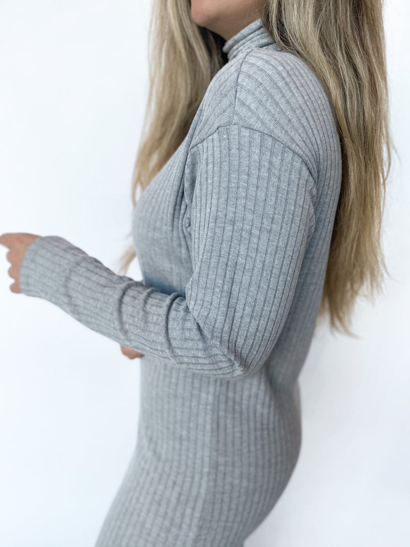 Sweater Rib Turtleneck Dress - Heather Grey - house of lolo