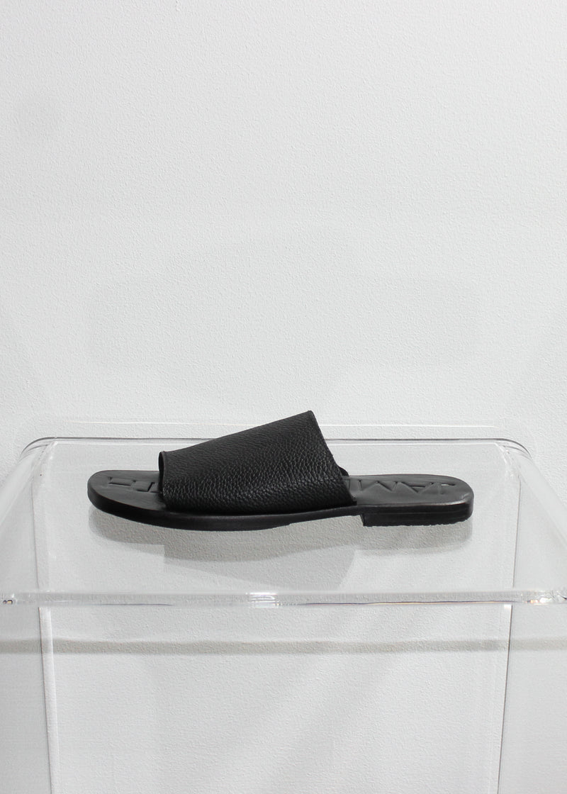 Flat Leather Slides - Black - house of lolo