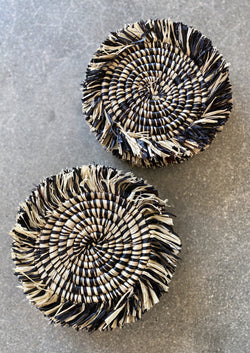 Fringed Black Coasters - Set of 4 - house of lolo