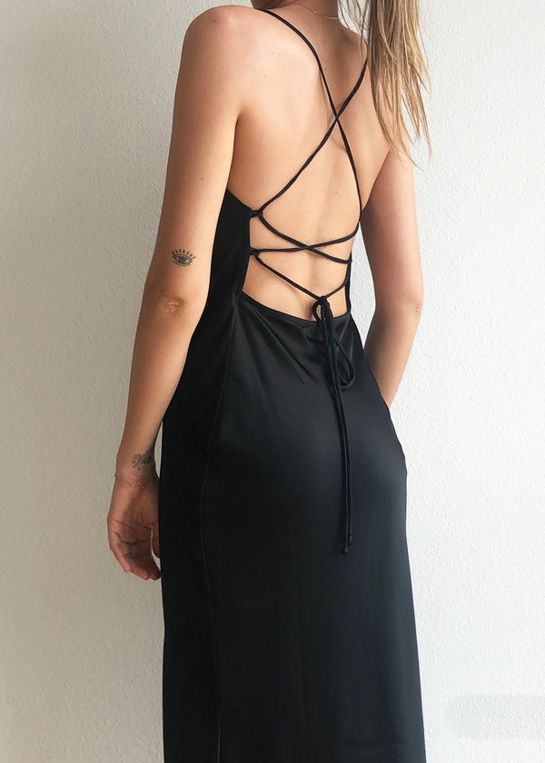 Seraphine Lace-up Midi Dress - house of lolo