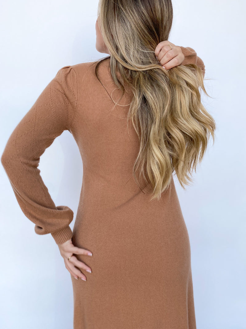 Casey Sweater Dress - Camel - house of lolo
