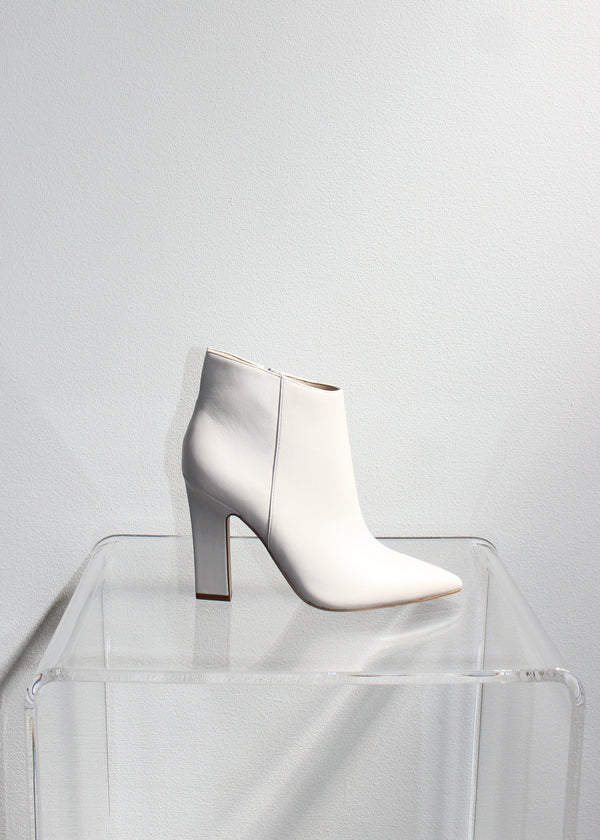 Ivory Leather Ankle Bootie - house of lolo