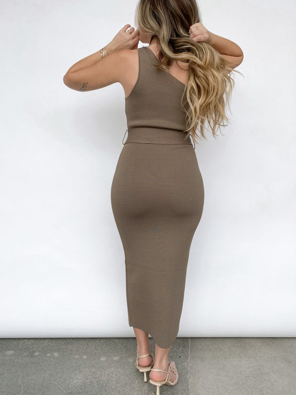 Lelani Asym Midi Dress - Olive - house of lolo