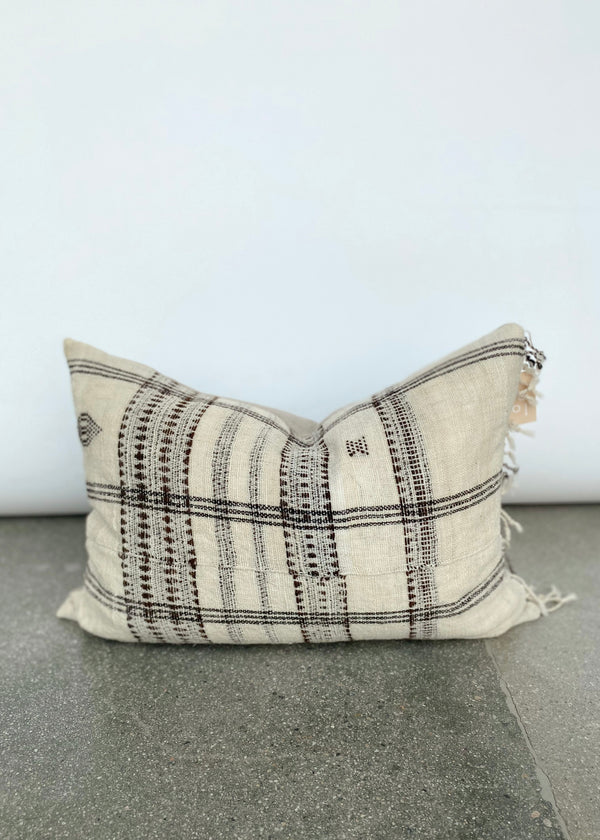 Kai Pillow - Ivory & Umber Wool Fringe