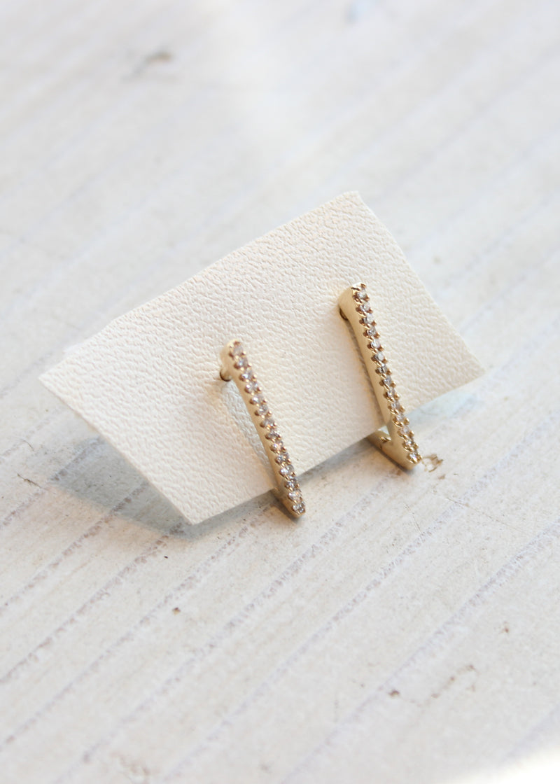Petite V Huggie Earrings with Pave Diamonds - house of lolo