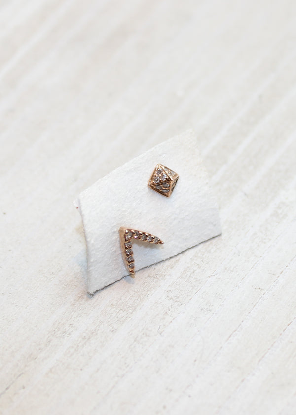 Mismatched Dash Pyramid Ear Studs - house of lolo