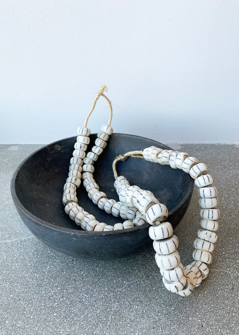 African White Striped Beads - house of lolo