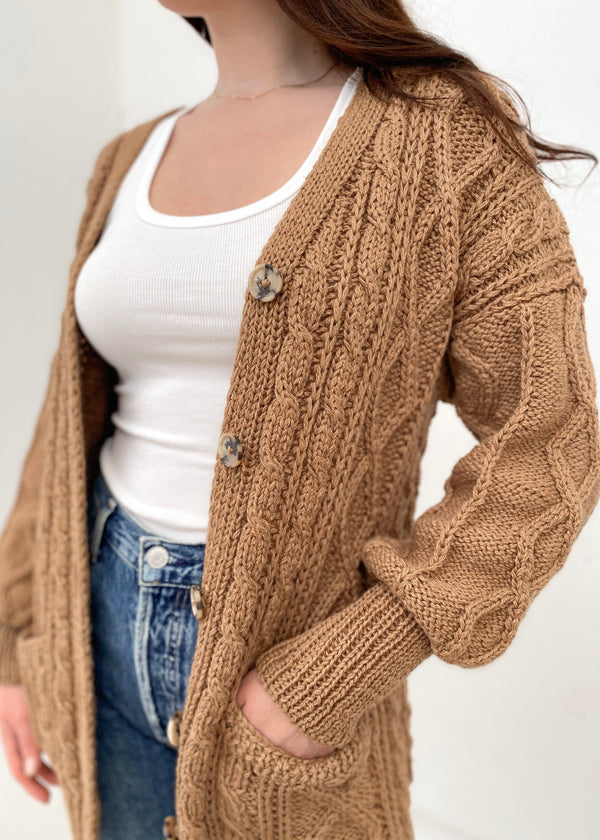Handknit Cableknit Cardigan - Camel - house of lolo