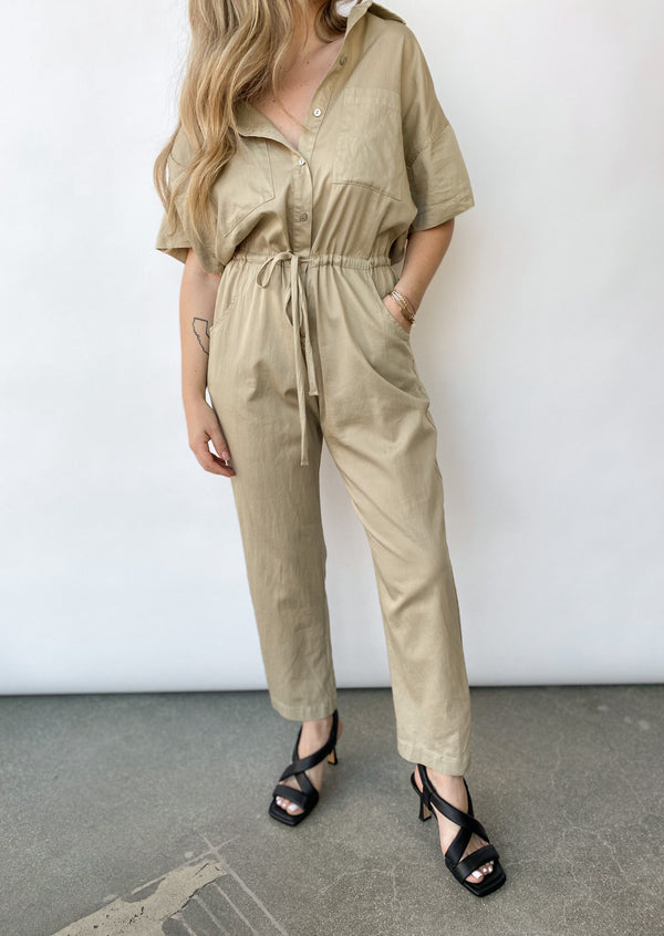 Cotton Short Sleeve Jumpsuit - Dark Clay - house of lolo