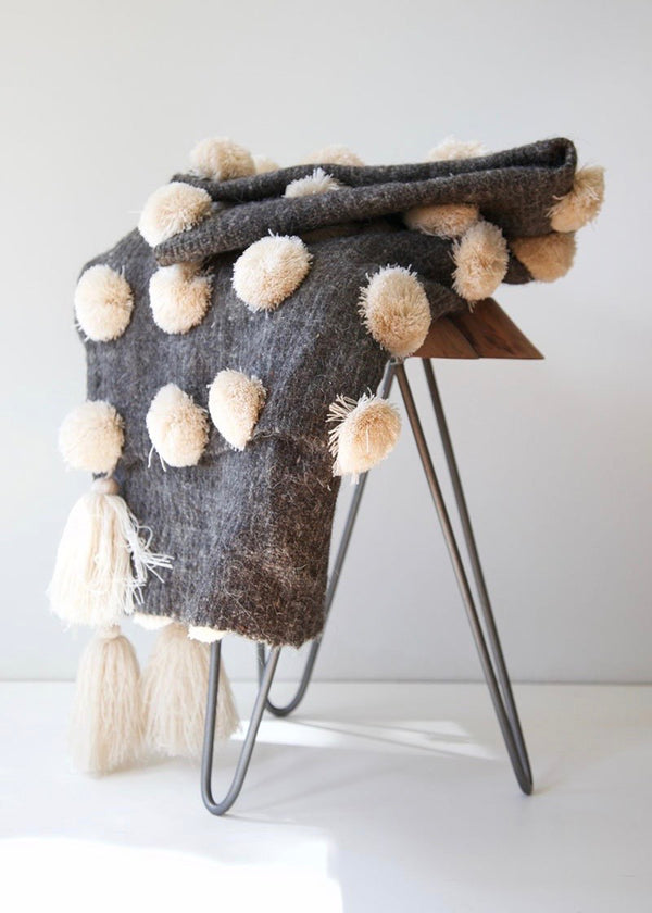 Pom Pom Throw - Natural White & Grey - house of lolo