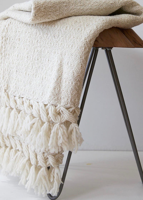 Chiapas Wool Throw - Oatmeal - house of lolo