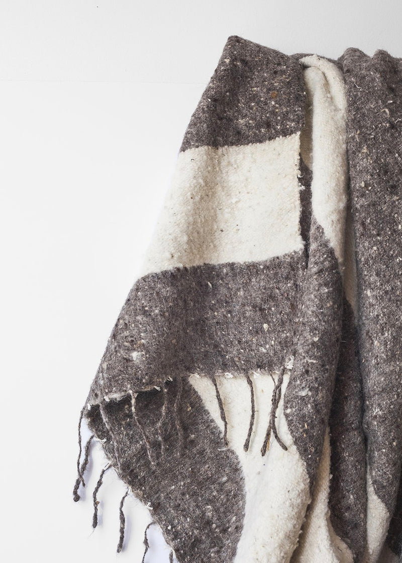 Modern Momo Blanket Wide Stripe - Grey/Ecru - house of lolo