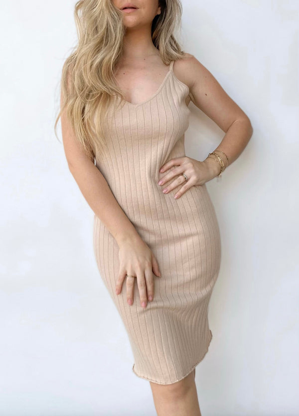 Gena Ribbed Midi Dress - Pale Pink - house of lolo