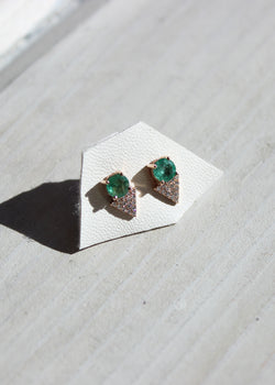 Cabochon Pave Triangle Studs - house of lolo