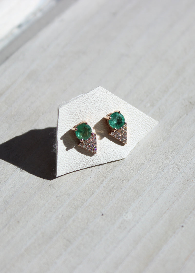 Emerald and Pave Diamond Earrings - house of lolo