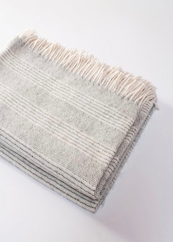 Stripe Alpaca Throw - Cloud - house of lolo