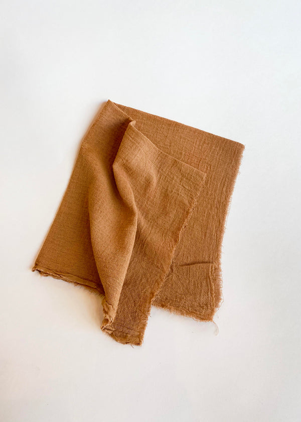 Linen Plant Dyed Bandana, Rust Cotton Gauze - house of lolo