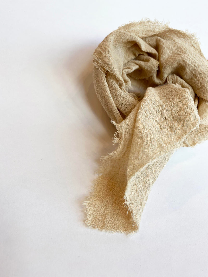 Linen Plant Dyed Bandana - Sand Cotton Gauze - house of lolo