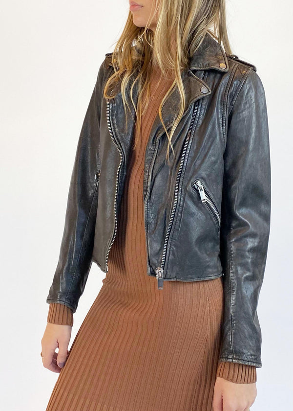 Classic Leather Moto Jacket - Vintage Black - house of lolo