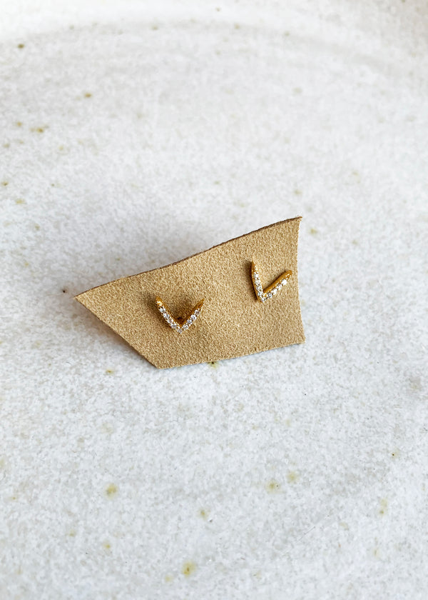 Dash Ear Studs - yellow gold - house of lolo