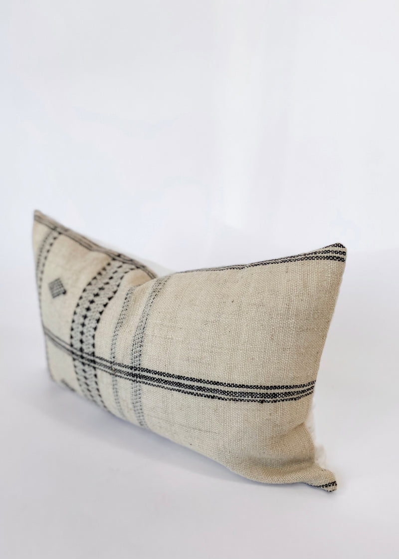 Diya Lumbar - Ivory Indian Wool Pillow Cover - house of lolo