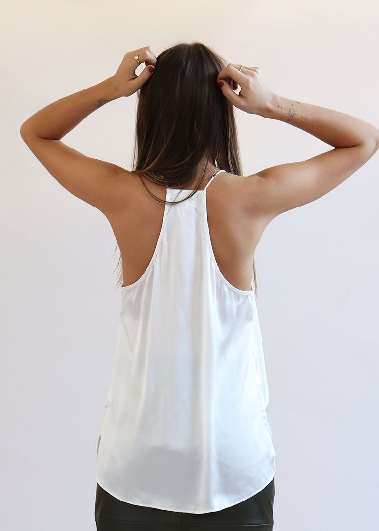 Racer Charmeuse Cami - White - house of lolo