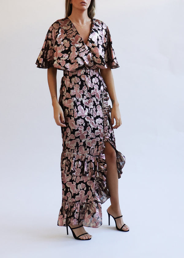 Rose Lamé Chiffon Dress - house of lolo