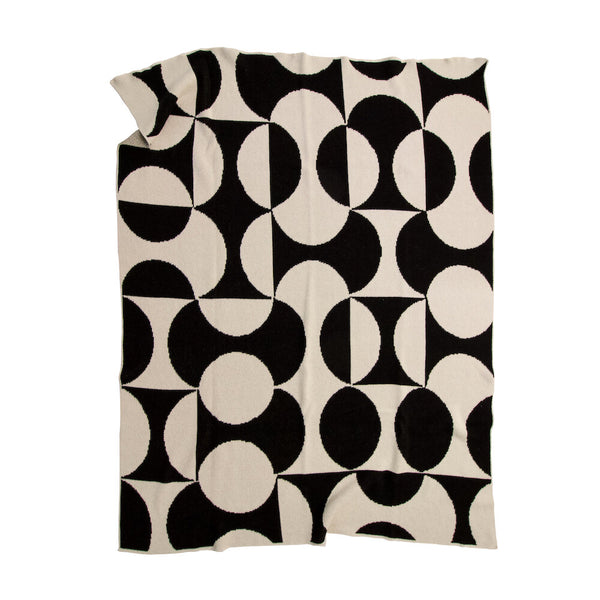 Puzzle Black Recycled Cotton Throw - house of lolo
