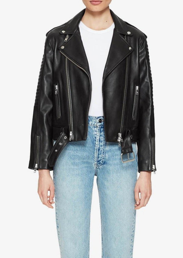 Cassidy Leather Jacket - Black - house of lolo