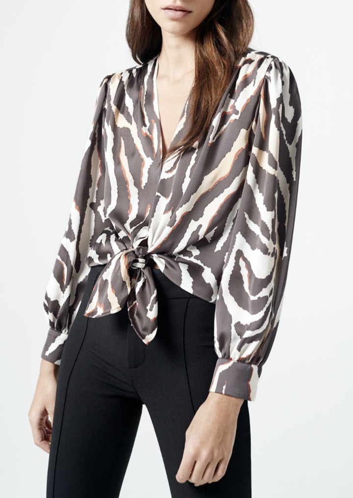 Tie Front Blouse Zebra - house of lolo
