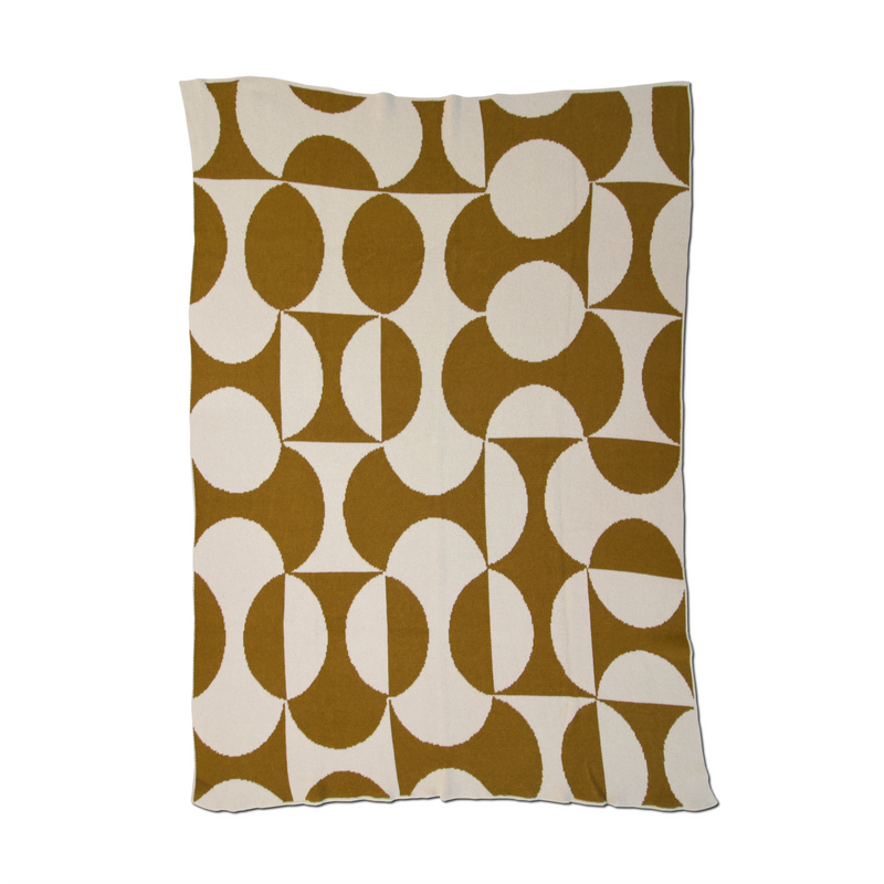Puzzle Ochre Recycled Cotton Throw - house of lolo