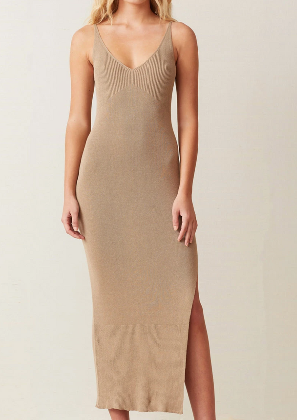 Sandy Midi Knit Dress - Beige - house of lolo