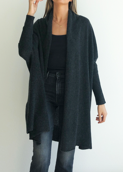 Cocoon Shawl Jacket - Iron - house of lolo