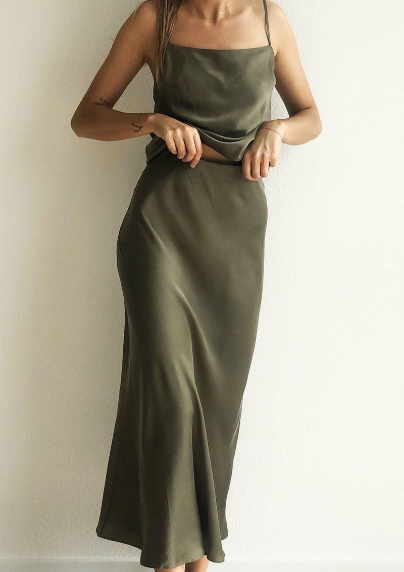 Classic Silk Midi Skirt - Khaki - house of lolo
