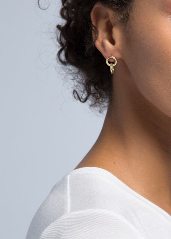 Kumi Mini Hoop Studs - Gold - house of lolo