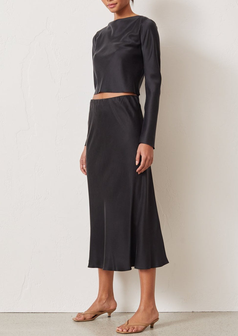 Classic Silk Midi Skirt - Black - house of lolo