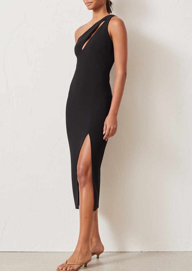 Emerald Avenue ASYM Midi Dress - Black - house of lolo