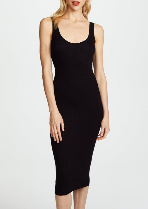 Silk Rib Tank Dress - Black - house of lolo