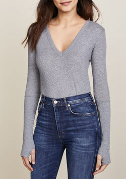 Cashmere Cuffed V Neck Sweater - Smoke - house of lolo
