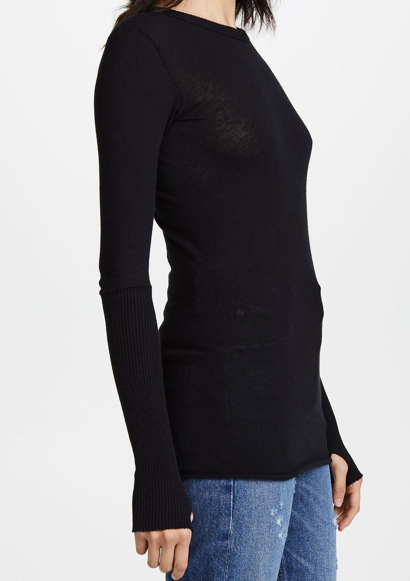 Contrast Crew Neck Sweater Black - house of lolo