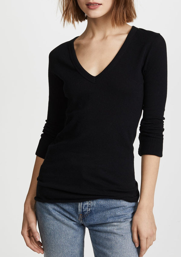 Cashmere Cuffed V Neck Sweater - Black - house of lolo