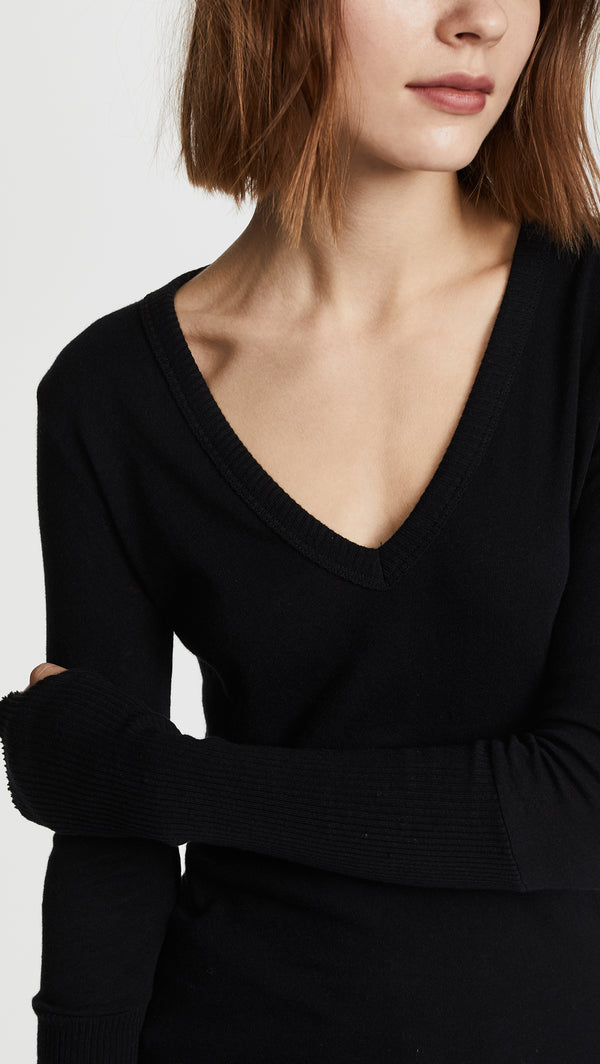 Cashmere Cuffed V Black - house of lolo