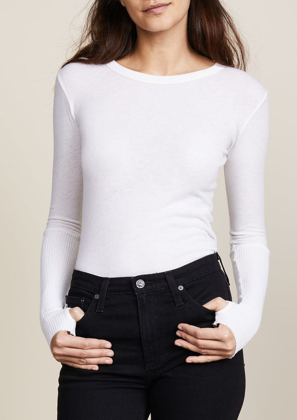 Cashmere Cuffed Crew Neck Sweater - White - house of lolo